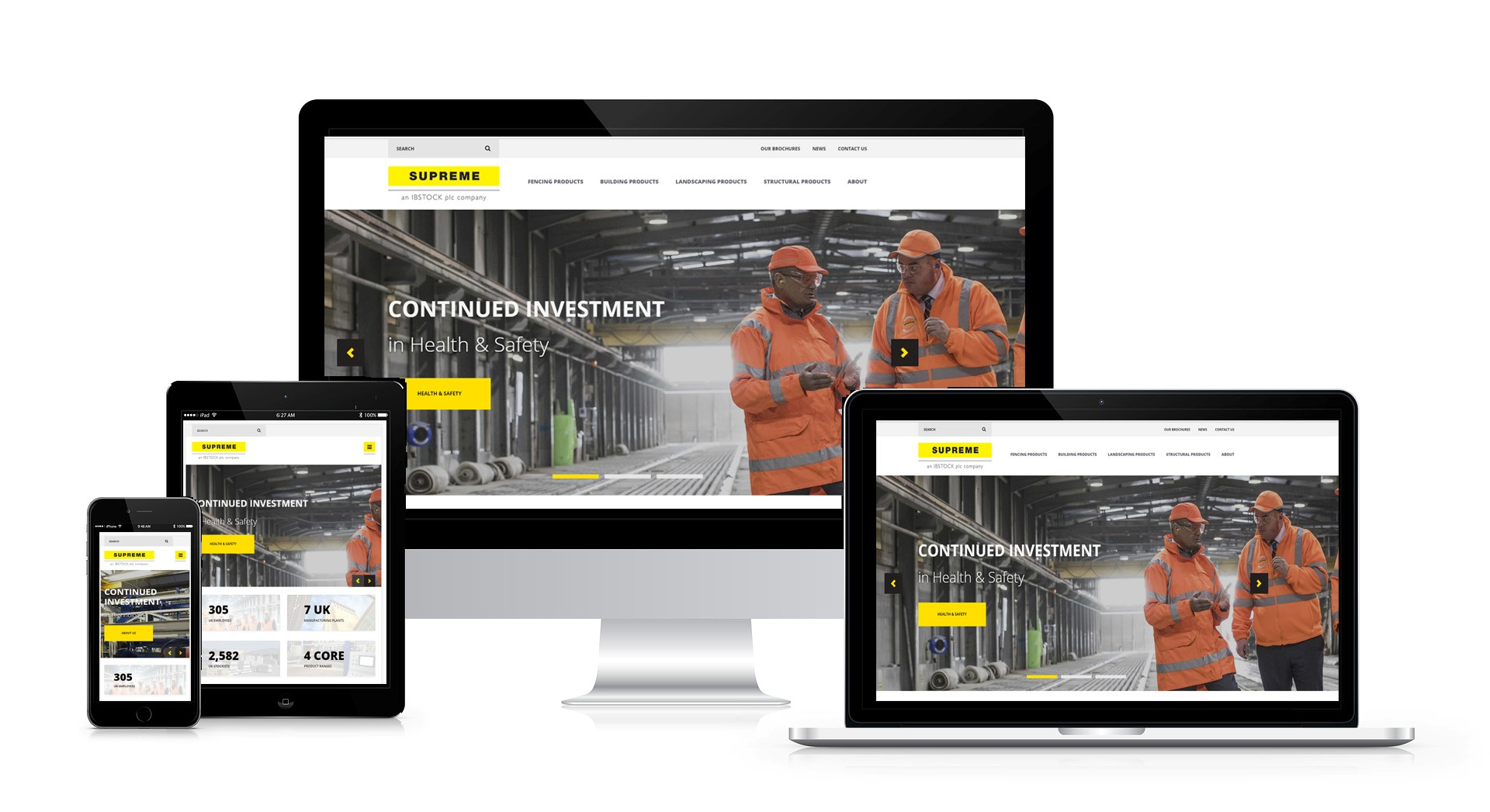 The New Supreme Concrete Website across a range of devices